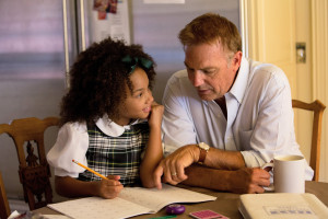Kevin Costner and Jillian Estell star in Relativity Media's movie BLACK OR WHITE. © 2014 BLACKWHITE, LLC. Photo courtesy of Tracey Bennett.