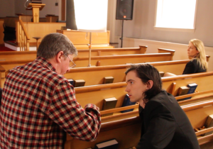 Hal Hartley directing Liam Aiken in NED RIFLE. Photo courtesy of Possible Films.