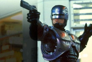 Peter Weller dons the original robot armor in ROBOCOP. Photo courtesy of Orion Pictures.