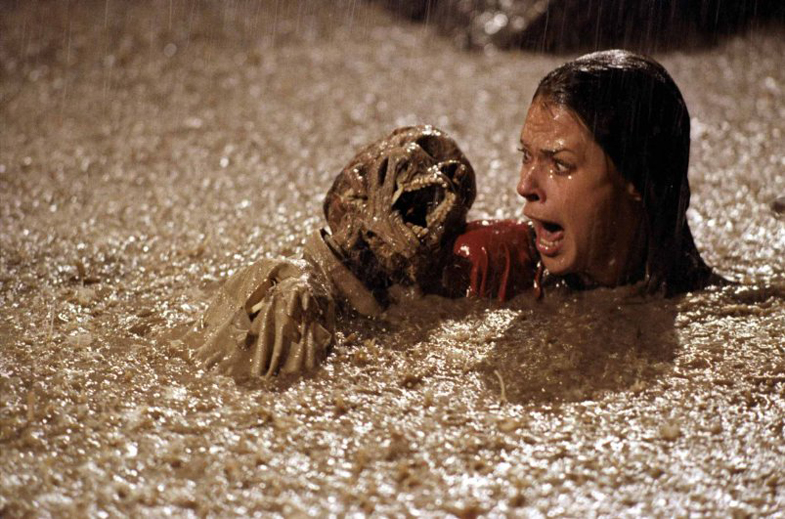 Mama Freeling (JoBeth Williams) takes a swim in the not-yet-completed pool in POLTERGEIST 1982.