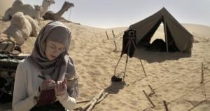 Nicole Kidman journals in QUEEN OF THE DESERT.