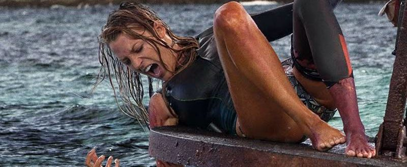 Blake Lively in the throes of battle with a Great White (photo courtesy of Sony Pictures)