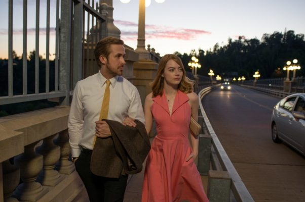 Gosling (left) Stone (right) in La La Land (photo courtest of Lionsgate)